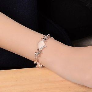 Rose Gold Creative Dazzling Opal Leaves Bracelet